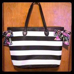 Black & White striped floral tote